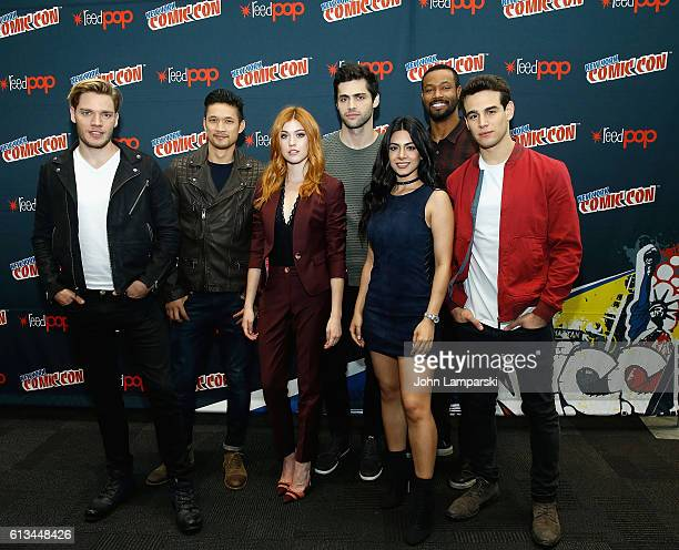 Dominic Sherwood Harry Shum Jr Katherine McNamaraMatthew Daddario Emeraude Toubia Isaiah Mustafa and Alberto Rosende attend Shadowhunters press...