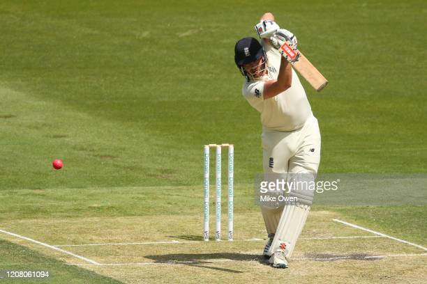 Dominic Sibley of the England Lions bats during the Four Day match between Australia A and the England Lions at Melbourne Cricket Ground on February...
