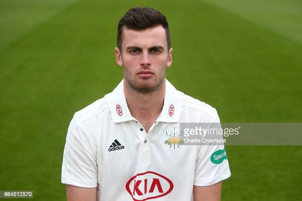 Dominic Sibley poses in the Specsavers County Championship kit during the Surrey CCC Photocall at The Kia Oval on April 4 2017 in London England