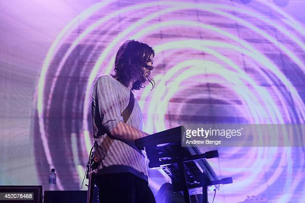 Dominic Simper of Tame Impala performs on stage at Albert Hall on July 12, 2014 in Manchester, United Kingdom.