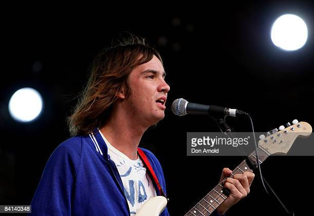 Dominic Simper of the band Tame Impala performs on stage during day two of The Falls Music Arts Festival on December 30 2008 in Lorne Australia