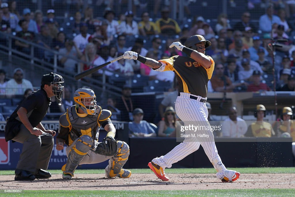 Dominic Smith #22 of the New York Mets and the U.S. Team hits during the SiriusXM All-Star Futures Game at PETCO Park on July 10, 2016 in San Diego, California.