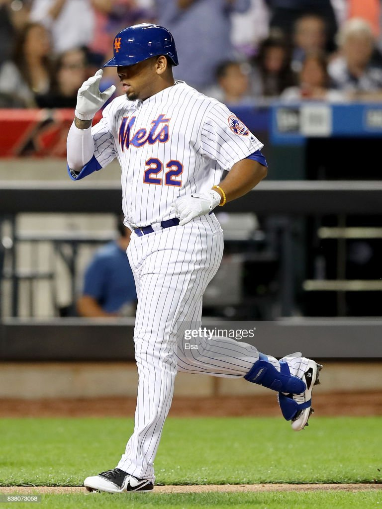 Dominic Smith #22 of the New York Mets celebrates his solo home run in the sixth inning against the Arizona Diamondbacks on August 23, 2017 at Citi Field in the Flushing neighborhood of the Queens borough of New York City.