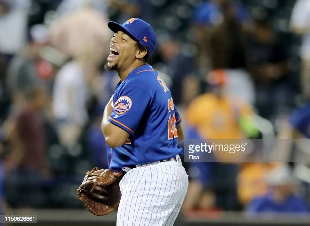 Dominic Smith of the New York Mets celebrates the win over the Washington Nationals at Citi Field on May 20 2019 in the Flushing neighborhood of the...