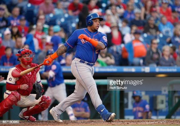Dominic Smith of the New York Mets in action against the Philadelphia Phillies during a game at Citizens Bank Park on October 1 2017 in Philadelphia...