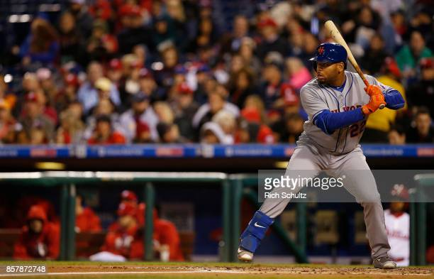 Dominic Smith of the New York Mets in action against the Philadelphia Phillies during a game at Citizens Bank Park on September 30 2017 in...