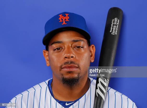 Dominic Smith of the New York Mets poses for a photo during photo days at First Data Field on February 21 2018 in Port St Lucie Florida