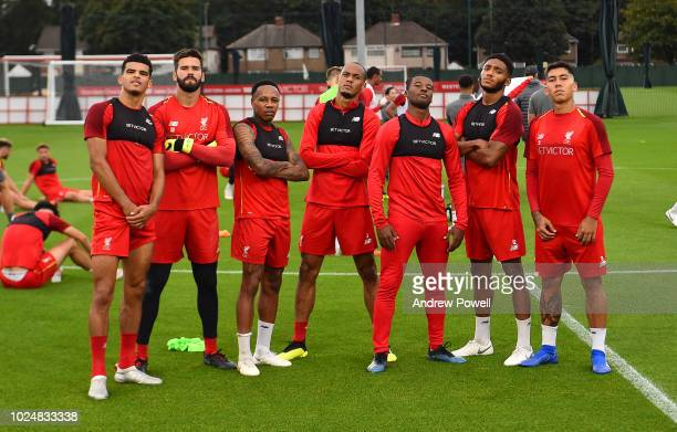 Dominic Solanke, Alisson Becker, Roberto Firmino, Nathaniel Clyne, Joe Gomez and Fabinho of Liverpool pose for a photograph after winning a...