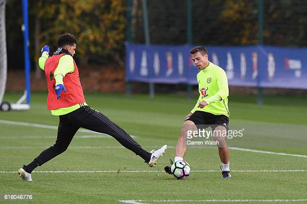 Dominic Solanke and Cesar Azpilicueta of Chelsea during a training session at Chelsea Training Ground on October 21 2016 in Cobham England