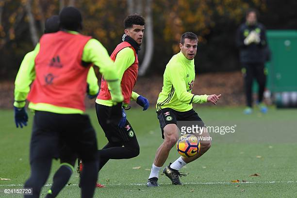 Dominic Solanke and Cesar Azpilicueta of Chelsea during a training session at Chelsea Training Ground on November 18 2016 in Cobham England