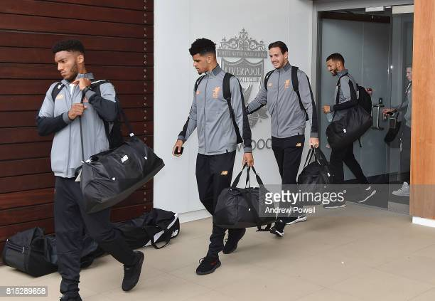 Dominic Solanke and Danny Ward of Liverpool before pre season tour at Melwood Training Ground on July 16 2017 in Liverpool England