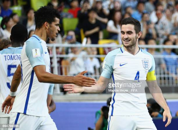 Dominic Solanke and Lewis Cook of England celebrate as Dominic CalvertLewin of England scores their first goal during the FIFA U20 World Cup Korea...