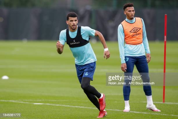 Dominic Solanke and Lloyd Kelly of Bournemouth during a training session at the Vitality Stadium on October 07, 2021 in Bournemouth, England.