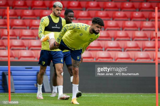 Dominic Solanke and Philip Billing of Bournemouth during a pre-season training session at Vitality Stadium on July 07, 2021 in Bournemouth, England.