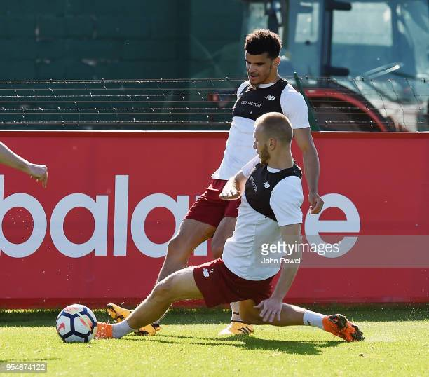 Dominic Solanke and Ragnar Klavan of Liverpool during a training session at Melwood Training Ground on May 4 2018 in Liverpool England