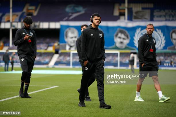 Dominic Solanke of AFC Bournemouth and teammates inspect the pitch prior to the Premier League match between Everton FC and AFC Bournemouth at...