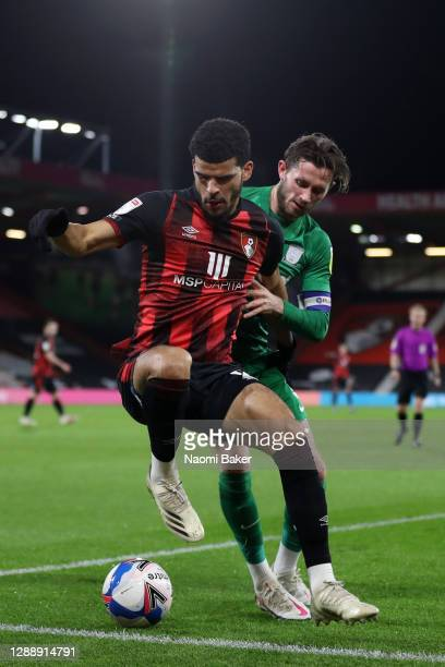 Dominic Solanke of AFC Bournemouth battles for possession with Alan Browne of Preston North End during the Sky Bet Championship match between AFC...