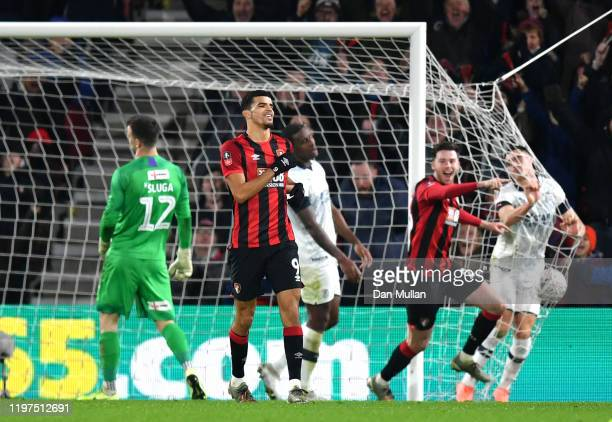 Dominic Solanke of AFC Bournemouth celebrates after scoring his team's fourth goal during the FA Cup Third Round match between AFC Bournemouth and...