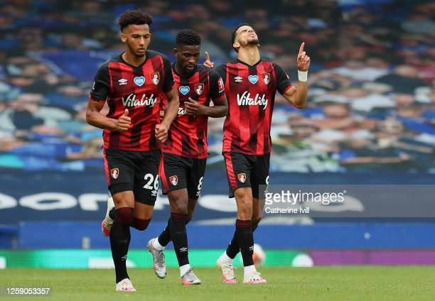 Dominic Solanke of AFC Bournemouth celebrates after scoring his team's second goal during the Premier League match between Everton FC and AFC...