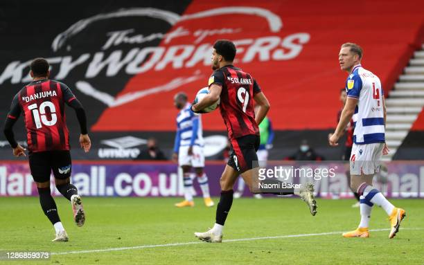 Dominic Solanke of AFC Bournemouth celebrates after scoring his team's first goal during the Sky Bet Championship match between AFC Bournemouth and...