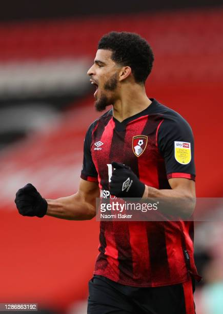 Dominic Solanke of AFC Bournemouth celebrates after scoring his team's fourth goal during the Sky Bet Championship match between AFC Bournemouth and...