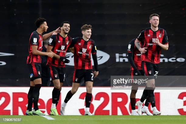 Dominic Solanke of AFC Bournemouth celebrates after scoring their team's first goal with David Brooks of AFC Bournemouth during the Sky Bet...