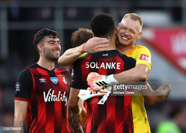 Dominic Solanke of AFC Bournemouth celebrates with Aaron Ramsdale of AFC Bournemouth during the Premier League match between AFC Bournemouth and...