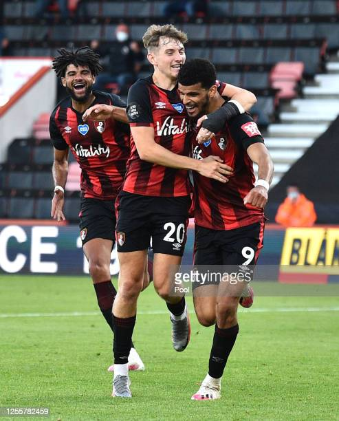 Dominic Solanke of AFC Bournemouth celebrates with David Brooks of AFC Bournemouth after scoring his sides second goal during the Premier League...
