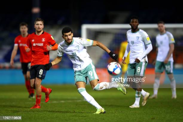 Dominic Solanke of AFC Bournemouth plays a pass during the Sky Bet Championship match between Luton Town and AFC Bournemouth at Kenilworth Road on...