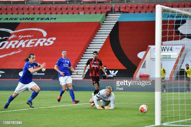 Dominic Solanke of AFC Bournemouth scores his sides second goal during the Premier League match between AFC Bournemouth and Leicester City at...