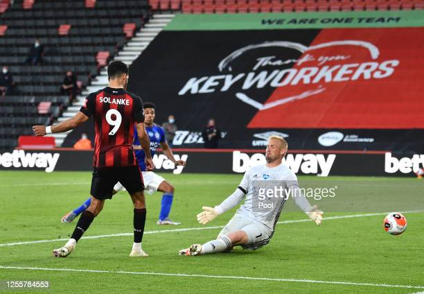 Dominic Solanke of AFC Bournemouth scores his teams fourth goal during the Premier League match between AFC Bournemouth and Leicester City at...