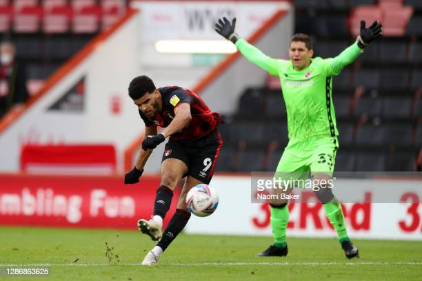 Dominic Solanke of AFC Bournemouth scores his team's fourth goal during the Sky Bet Championship match between AFC Bournemouth and Reading at...