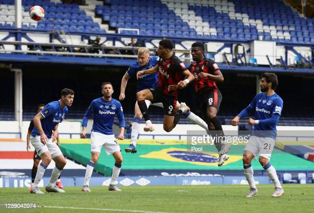 Dominic Solanke of AFC Bournemouth scores his team's second goal during the Premier League match between Everton FC and AFC Bournemouth at Goodison...