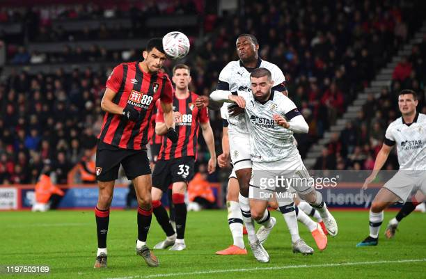 Dominic Solanke of AFC Bournemouth scores his team's second goal which is then disallowed by VAR during the FA Cup Third Round match between AFC...