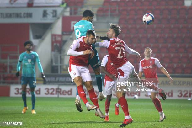 Dominic Solanke of AFC Bournemouth scores their second goal during the Sky Bet Championship match between Rotherham United and AFC Bournemouth at...