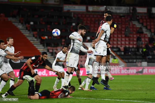 Dominic Solanke of AFC Bournemouth scores their side's second goal during the Sky Bet Championship match between AFC Bournemouth and Swansea City at...