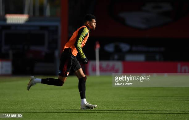 Dominic Solanke of AFC Bournemouth warms up ahead of the Sky Bet Championship match between AFC Bournemouth and Derby County at Vitality Stadium on...