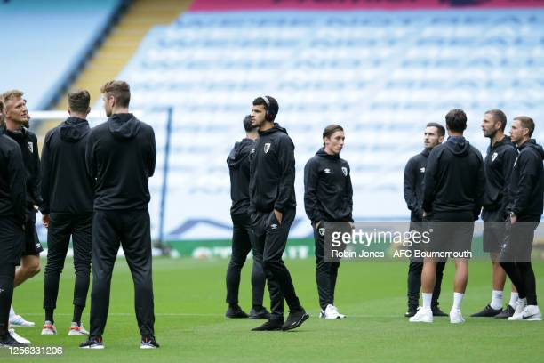 Dominic Solanke of Bournemouth before the Premier League match between Manchester City and AFC Bournemouth at Etihad Stadium on July 15 2020 in...