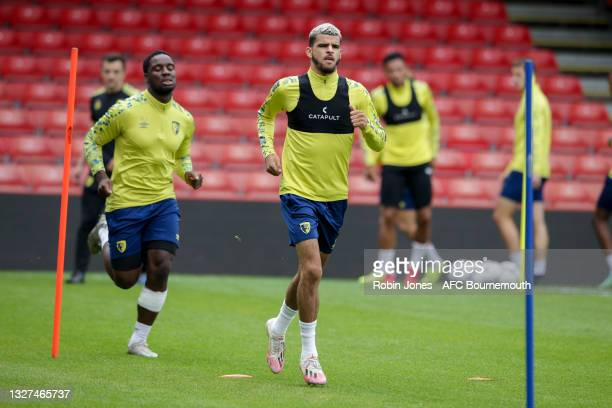 Dominic Solanke of Bournemouth during a pre-season training session at Vitality Stadium on July 07, 2021 in Bournemouth, England.