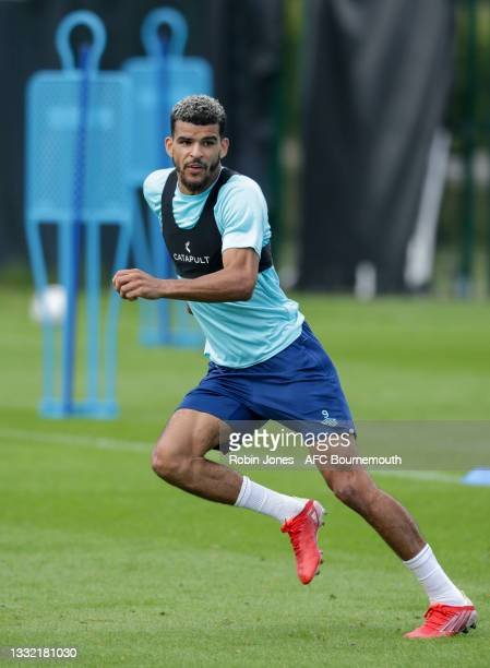 Dominic Solanke of Bournemouth during a pre-season training session at Vitality stadium on August 03, 2021 in Bournemouth, England.