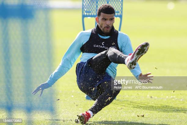 Dominic Solanke of Bournemouth during a training session at the Vitality Stadium on October 14, 2021 in Bournemouth, England.