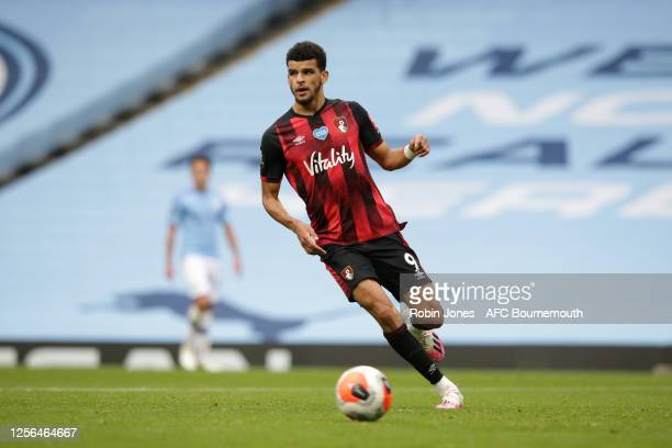 Dominic Solanke of Bournemouth during the Premier League match between Manchester City and AFC Bournemouth at Etihad Stadium on July 15 2020 in...