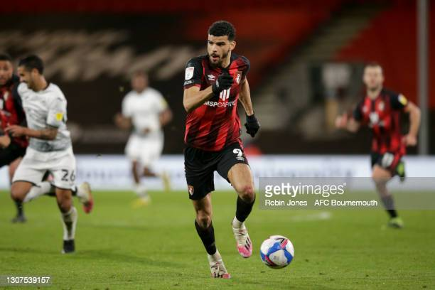 Dominic Solanke of Bournemouth during the Sky Bet Championship match between AFC Bournemouth and Swansea City at Vitality Stadium on March 16, 2021...