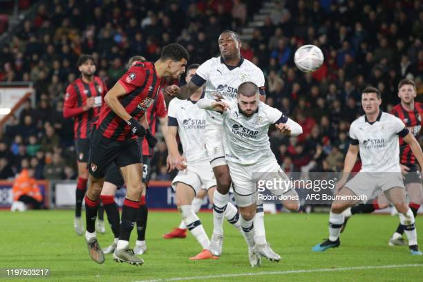 Dominic Solanke of Bournemouth goal is ruled offside after a VAR check during the FA Cup Third Round match between AFC Bournemouth and Luton Town at...
