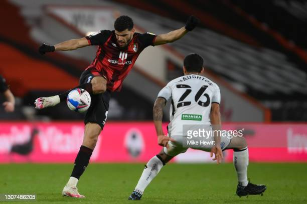 Dominic Solanke of Bournemouth in action during the Sky Bet Championship match between AFC Bournemouth and Swansea City at Vitality Stadium on March...
