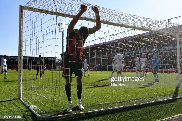 Dominic Solanke of Bournemouth reacts after a near miss during the Sky Bet Championship match between AFC Bournemouth and Watford at Vitality Stadium...