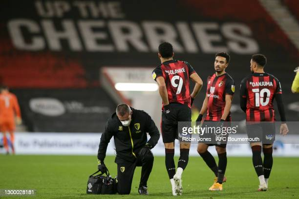 Dominic Solanke of Bournemouth receives treatment in the first half but does not return for the second half during the Sky Bet Championship match...