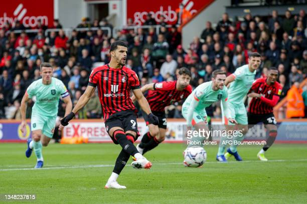 Dominic Solanke of Bournemouth scores a goal to make it 1-0 from the penalty spot during the Sky Bet Championship match between AFC Bournemouth and...