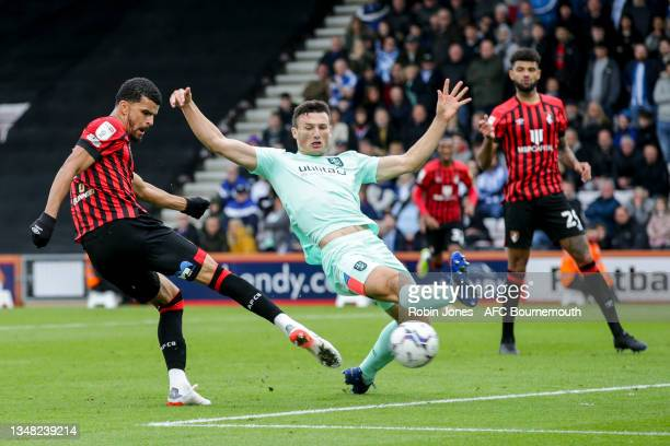 Dominic Solanke of Bournemouth scores a goal to make it 2-0, his second, during the Sky Bet Championship match between AFC Bournemouth and...