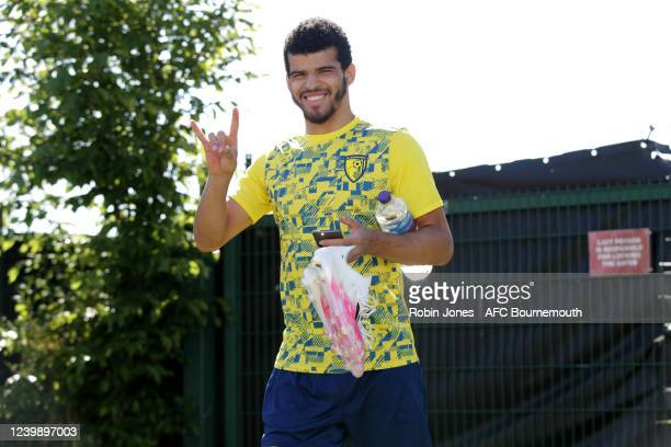 Dominic Solanke of Bournemouth wearing for the first time the clubs new Umbro branded training kit during a training session at the Vitality Stadium...